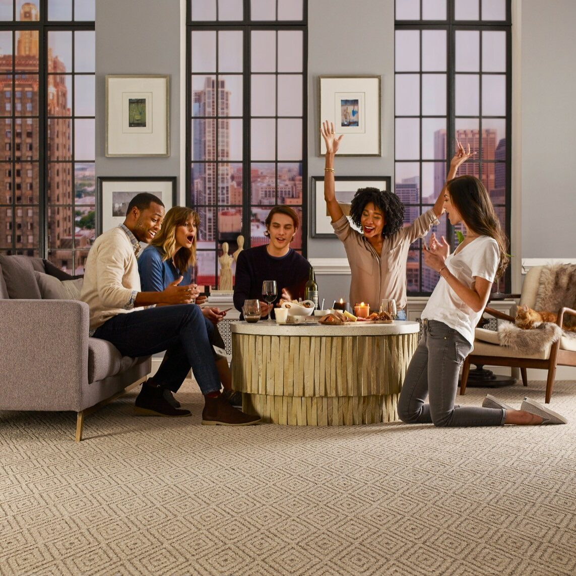Friends hanging out in living room | Flooring 101