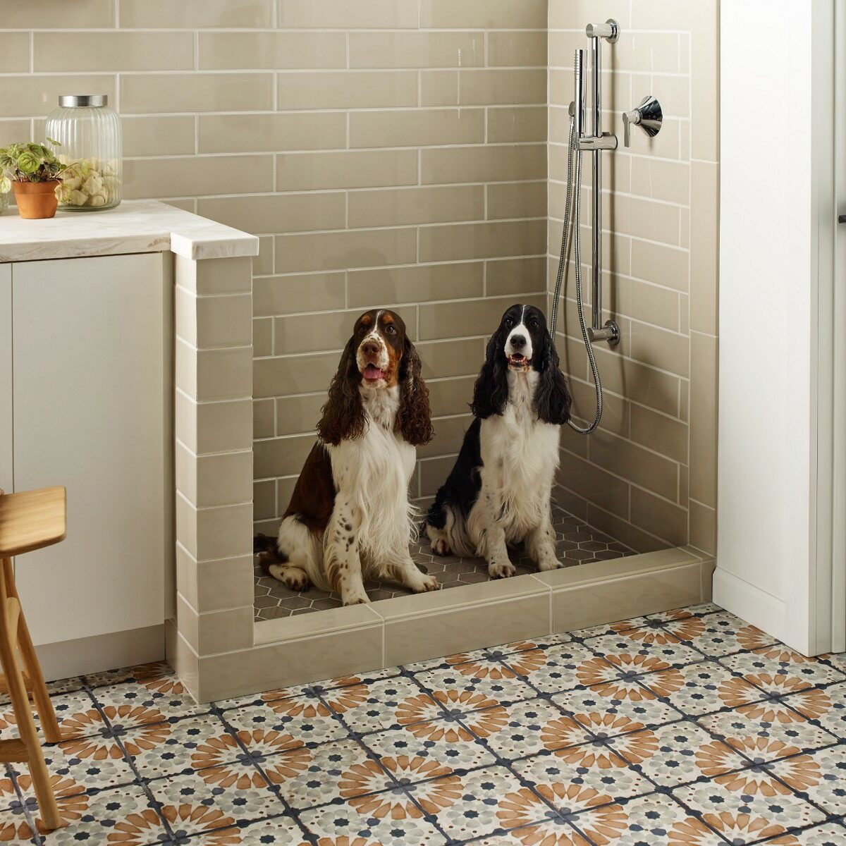 Two dogs on a tile floor   Flooring 101
